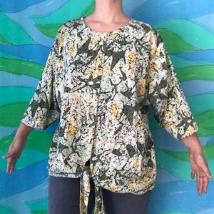 RARE VINTAGE Melissa Ashley abstract tie front top